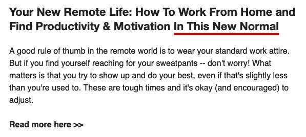"""Il """"New Normal"""" che spunta in un sacco di email"""