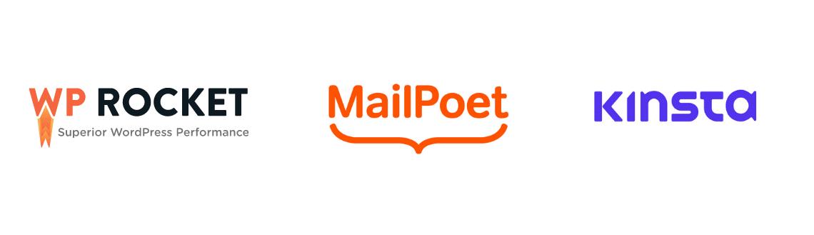 Tre loghi di aziende con cui ho lavorato: il plugin di cache WP Rocket, MailPoet e l'hosting Kinsta