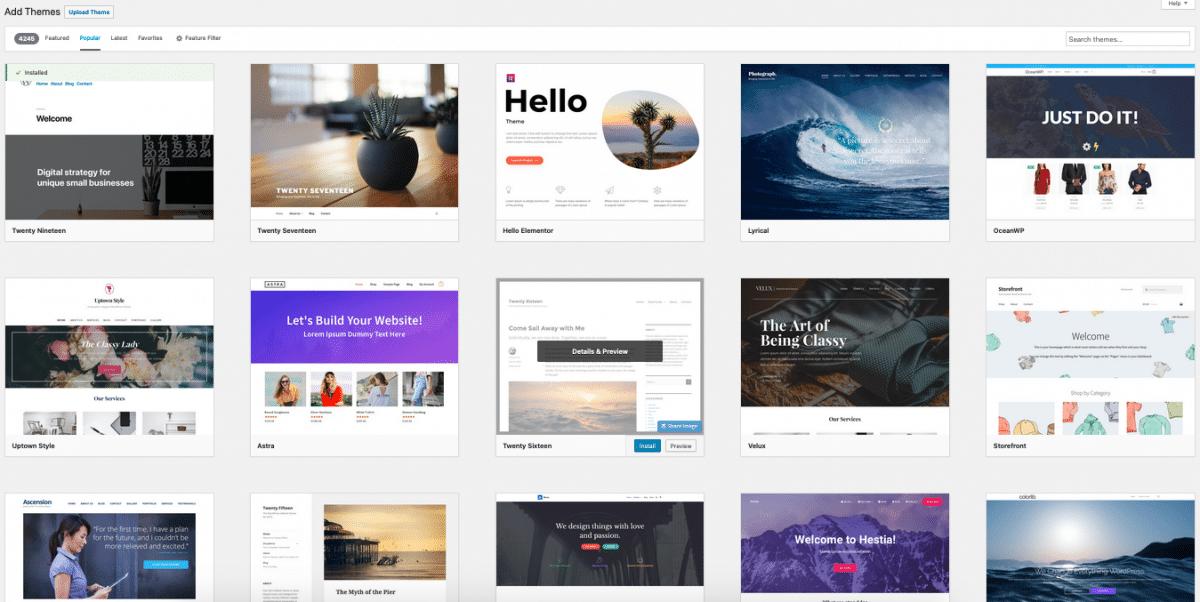 Screenshot dei temi WordPress nel repository