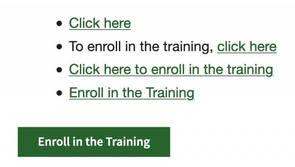 """Un esempio di evoluzione di un link: dal generico """"Click here"""" a """"Enroll in the Training"""""""