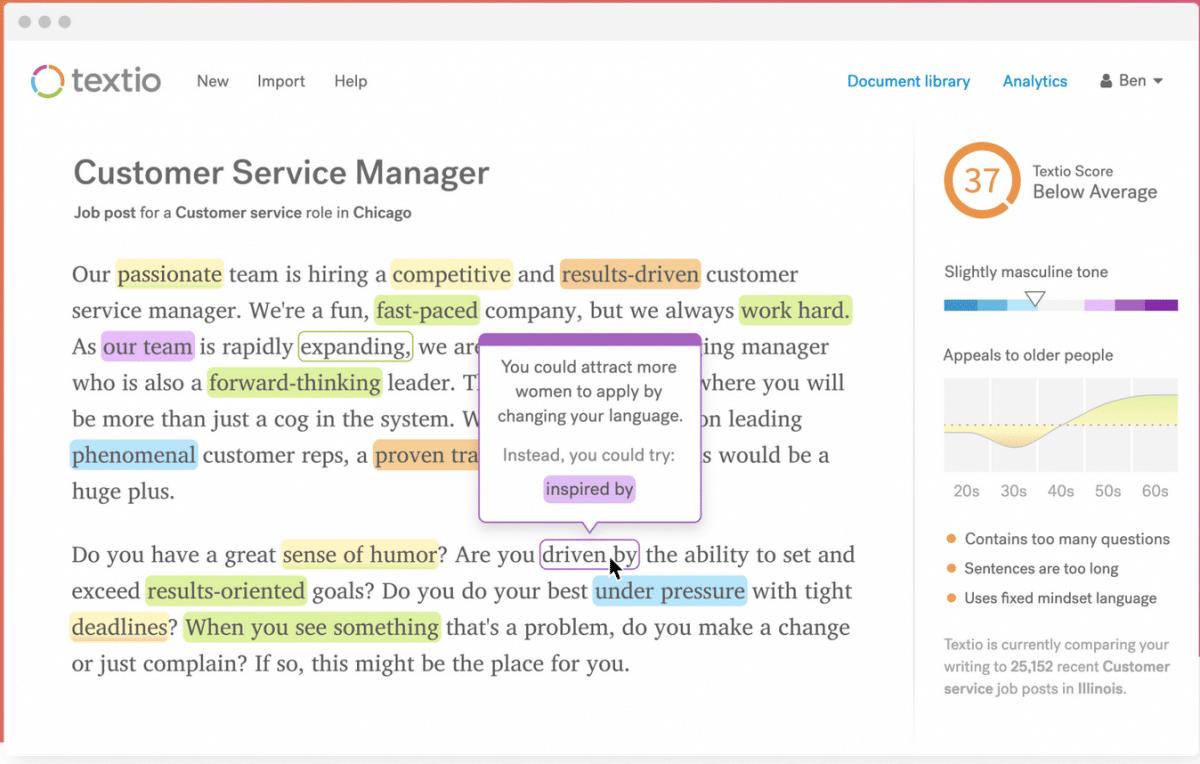 Screenshot della demo dell'applicazione Textio