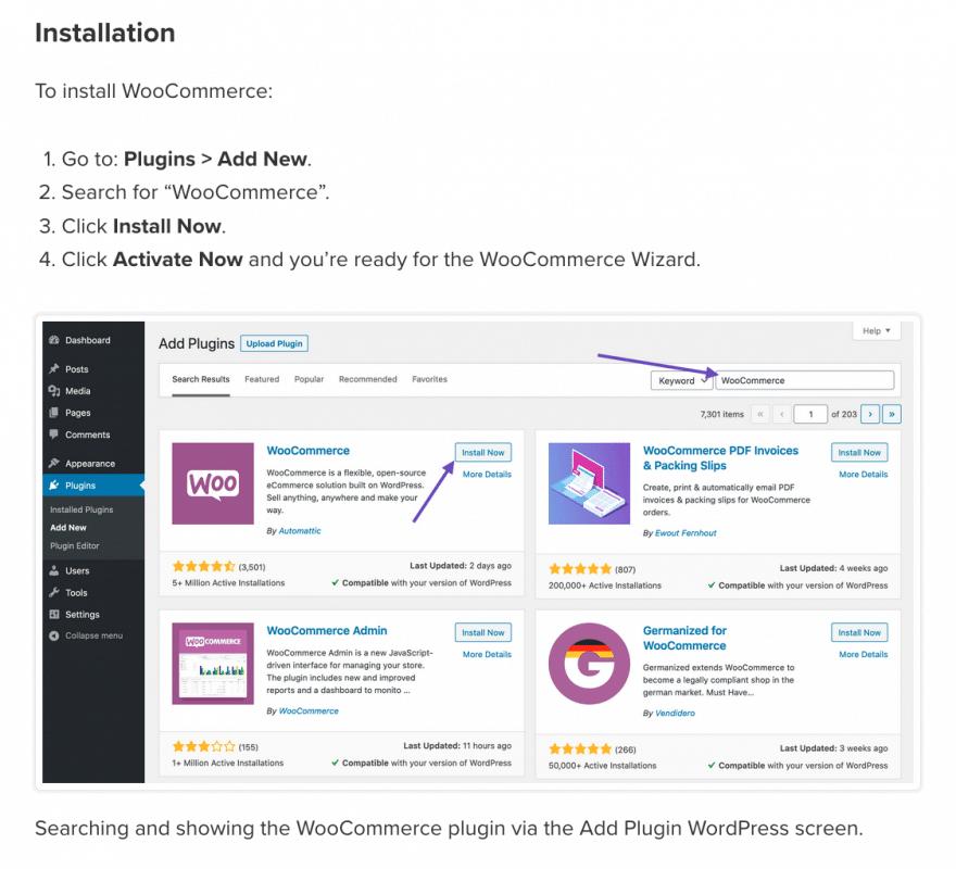 Documentazione passo-passo per installare WooCommerce