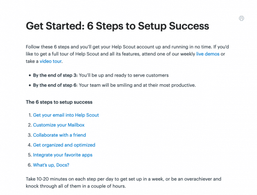 """La pagina """"Get Started"""" della documentazione di HelpScout"""