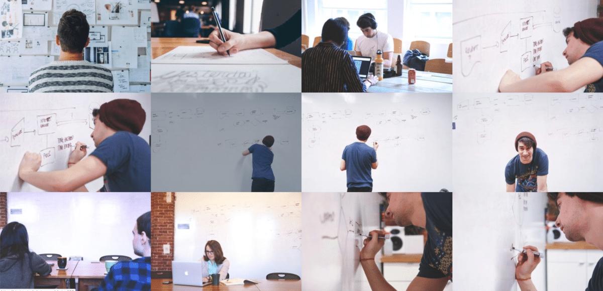 Un collage di foto che rappresentano persone, quasi tutti uomini o donne bianchi, che scrivono al computer o su lavagne bianche.