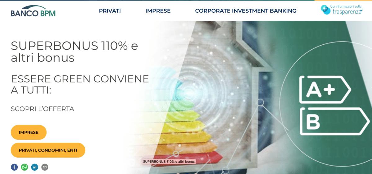 """Banco BPM presenta il Superbonus 110% con lo slogan """"Essere green conviene a tutti""""."""