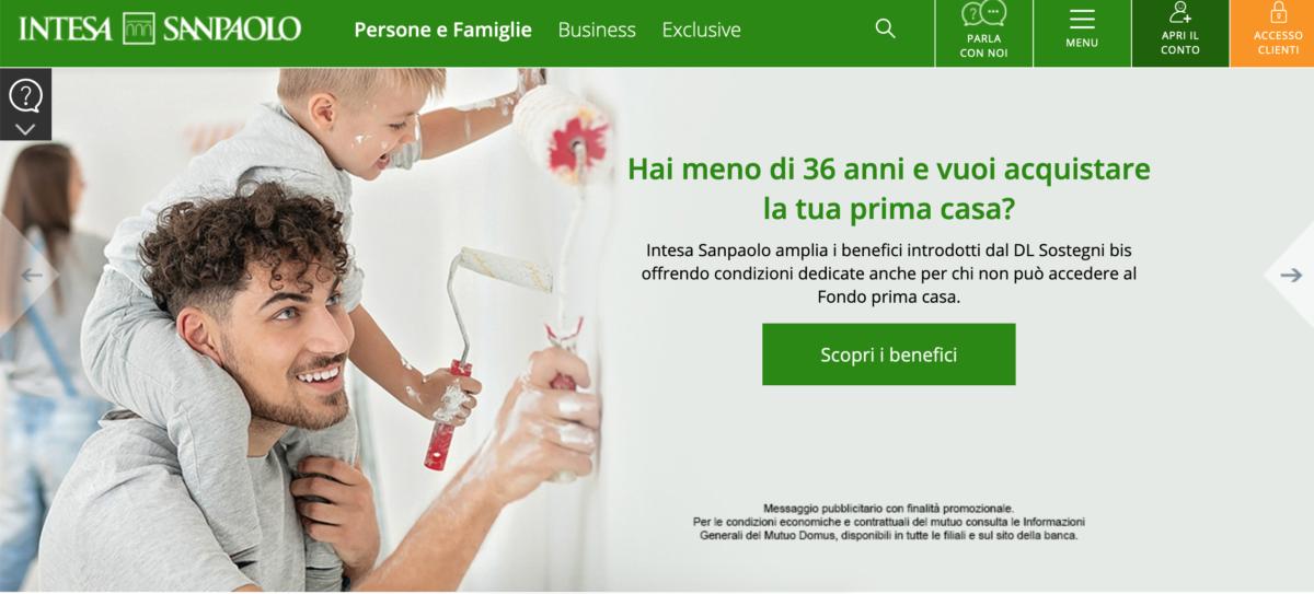 """Intesa Sanpaolo promuove finanziamenti per la prima casa iniziando con la domanda """"Hai meno di 36 anni e vuoi acquistare la tua prima casa?"""""""