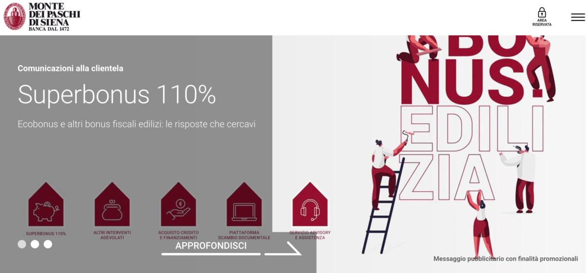 "Monte dei Paschi di Siena presenta il ""Superbonus 110%: ecobonus e altri bonus fiscali edilizi""."