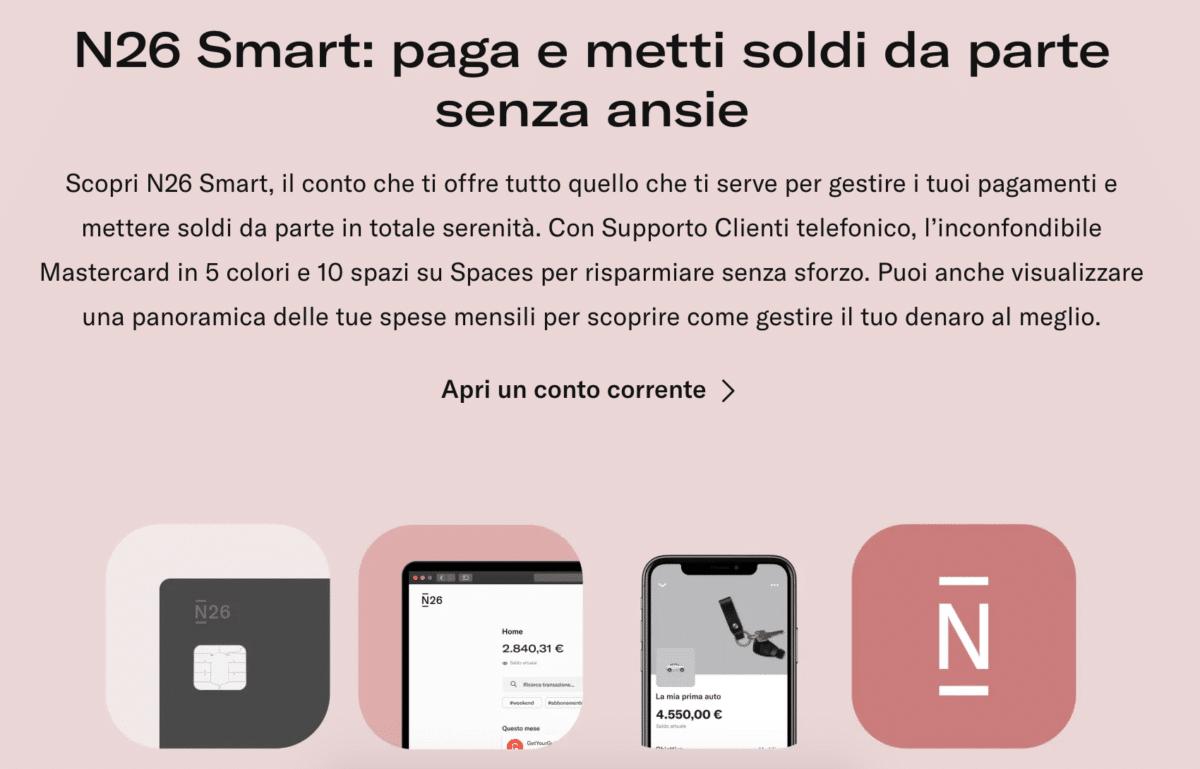 """""""N26 Smart - paga e metti soldi da parte senza ansie"""""""