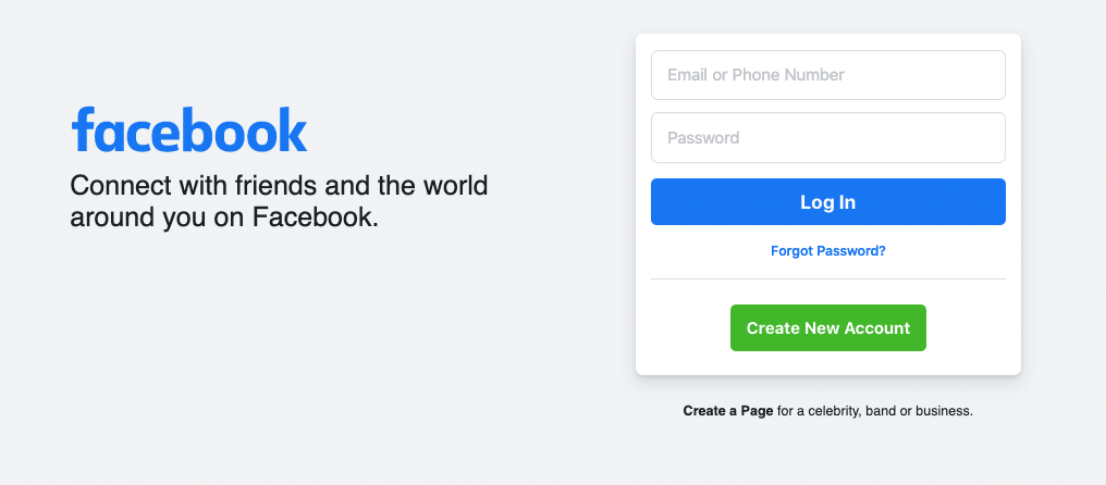 """Homepage di Facebook in inglese: """"Connect with friends and the world around you on Facebook."""""""