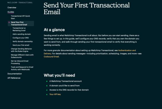 "Una pagina della documentazione di Mailchimp Developer ""Send Your First Transactional Email"""