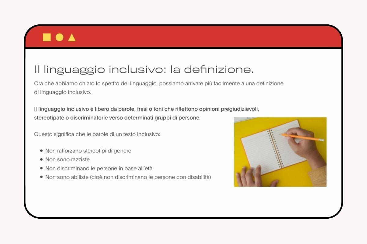 Un testo dedicato alla definizione di linguaggio inclusivo con formattazione e ottimizzazione SEO