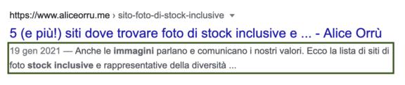 """Tag description di un articolo del mio blog sulla SERP di Google: """"Anche le immagini parlano e comunicano i nostri valori. Ecco la lista di siti di foto stock inclusive"""""""