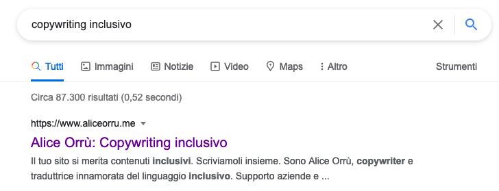 """La SERP di Google mostra il mio sito web come primo resultato per la parola chiave """"copywriting inclusivo"""""""